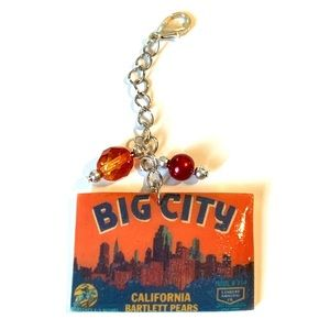 Vintage California Crates Label Purse Zip Charm
